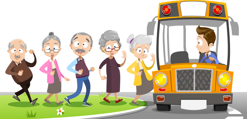 illustration of group of elder senior people sitting on the bus