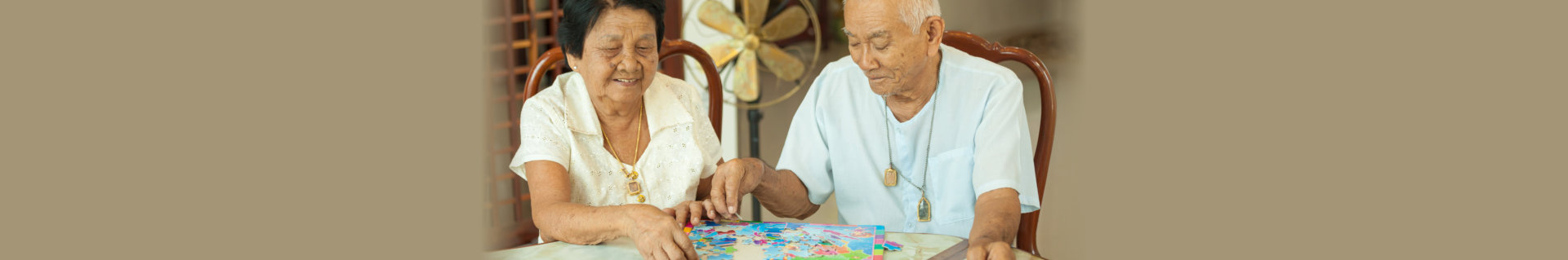 seniors playing puzzle